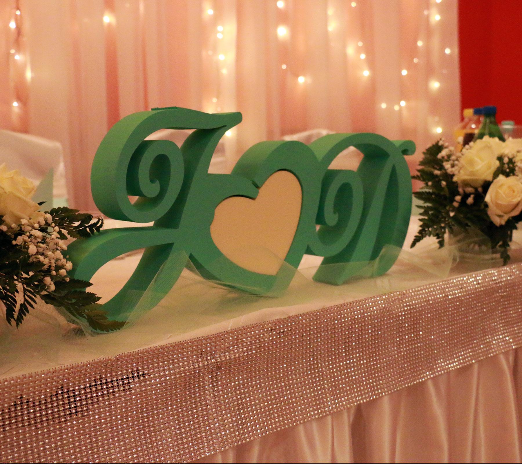 Inicjały na stół nowożeńców