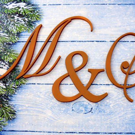 Inicjały ślubne litery weselne, monogramy